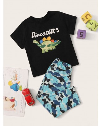 Toddler Boys Dinosaur & Camo Print Pajama Set