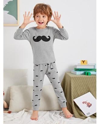 Toddler Boys Moustache Print Pajama Set