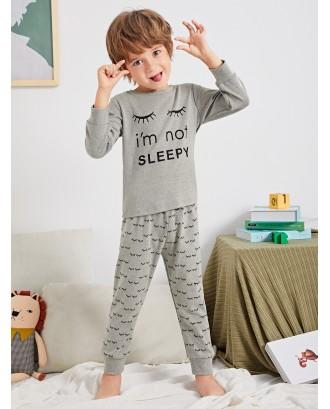 Toddler Boys Slogan And Eyelash Print Pajama Set