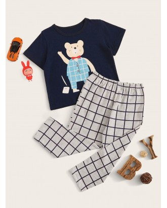Toddler Boys Bear Print Plaid Pajama Set
