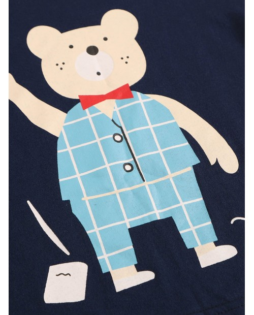 Toddler Boys Bear Print Plaid Pajama Set