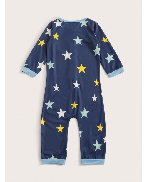 Toddler Boys Button-up Star Print Jumpsuit