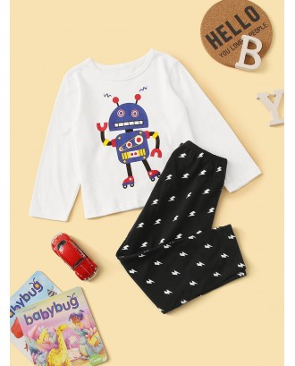 Toddler Boys Robot Print Pajama Set