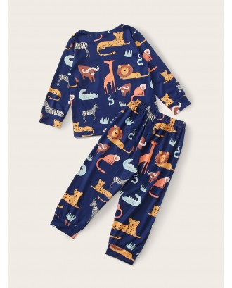 Toddler Boys Animal Print PJ Set