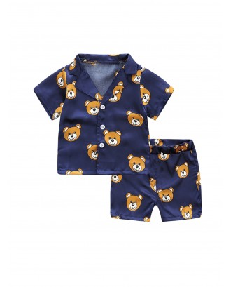 Toddler Boys Allover Bear Blouse With Shorts