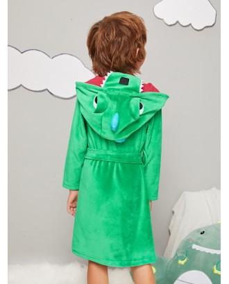 Toddler Boys Cartoon dinosaur Velvet Robe With Belt