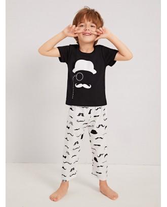 Toddler Boys Mustache Print Pajama Set