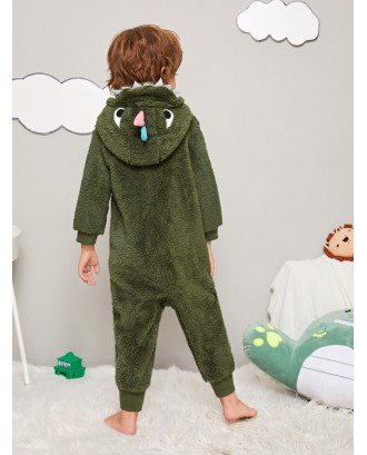 Toddler Boys Dinosaur Shaped Hooded Plush Onesie
