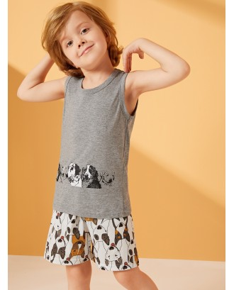 Toddler Boys Dog Print Pajama Set