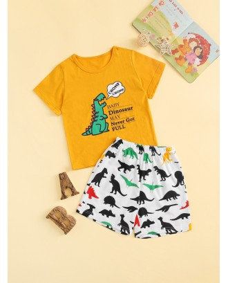 Toddler Boys Dinosaur & Letter Graphic Pajama Set