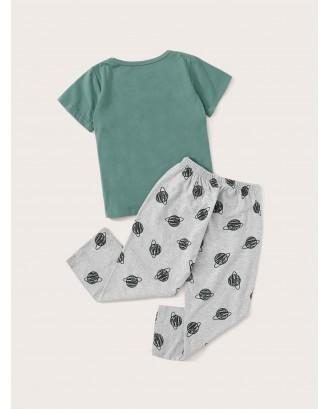 Toddler Boys Letter & Planet Print Pajama Set