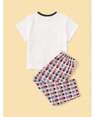 Toddler Boys Palm Tree Print Plaid Pajama Set