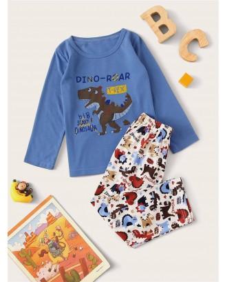 Toddler Boys Cartoon Dinosaur Print PJ Set
