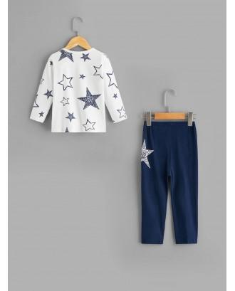 Toddler Boys Star Print Pajama Set