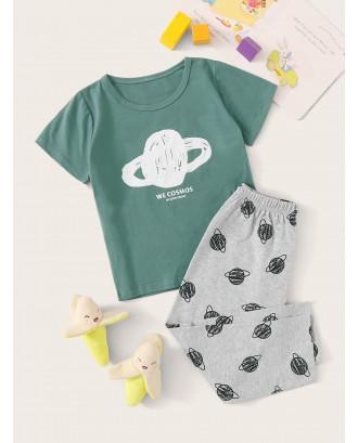 Toddler Boys Planet Print Pajama Set