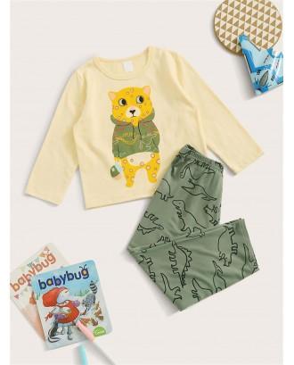 Toddler Boys Cartoon Print PJ Set