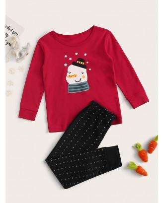 Toddler Boys Cartoon Snowman Print PJ Set
