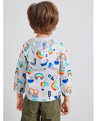 Toddler Boys Cartoon Print Hooded Windbreaker Jacket