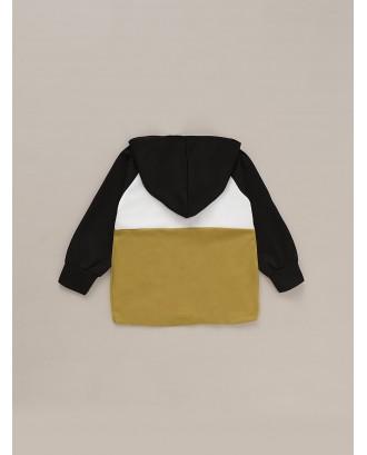 Toddler Boys Cut And Sew Deer Print Hooded Jacket