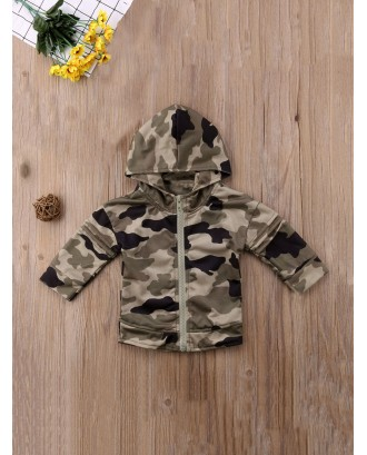 Toddler Boys Camouflage & Letter Print Hooded Jacket
