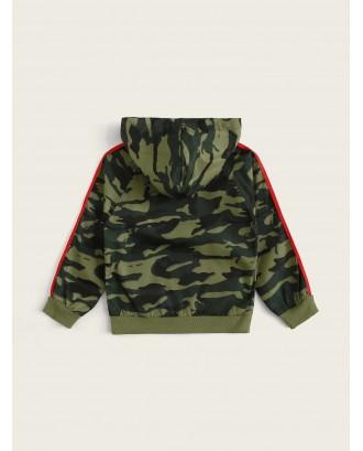Toddler Boys Camo Side Stripe Hooded Bomber Jacket