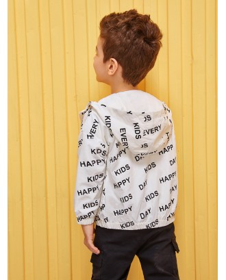 Toddler Boys Letter Print Hooded Jacket