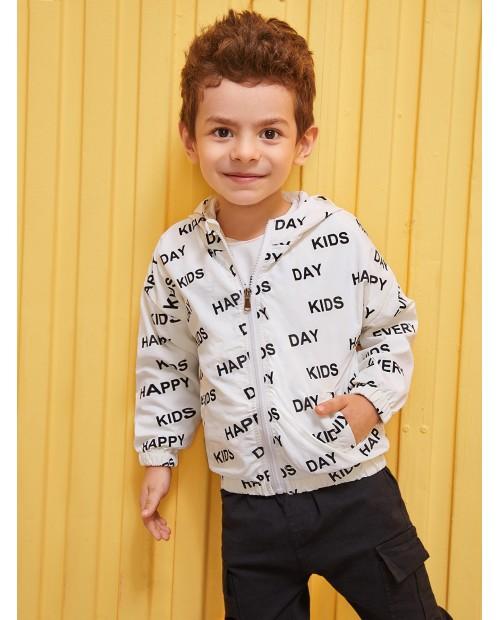 Toddler Boys Letter Print Hooded Jacket