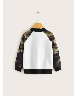 Toddler Boys Contrast Camo Sleeve Bomber Jacket