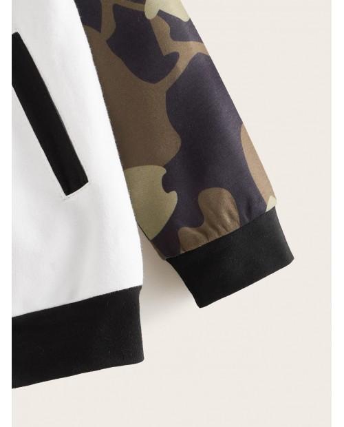Toddler Boys Contrast Camo Sleeve Bomber Jacket