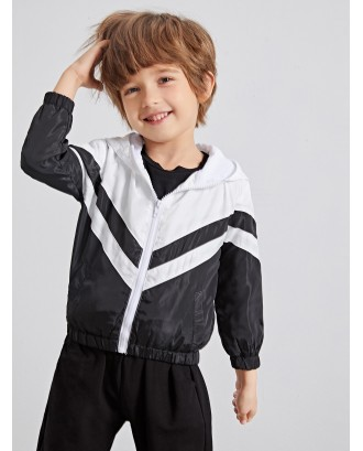 Toddler Boys Cut And Sew Hooded Windbreaker Jacket