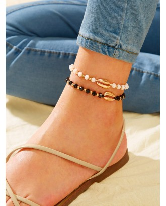 Bead & Shell Decor Chain Anklet 2pcs
