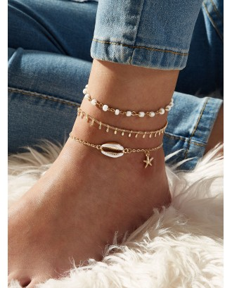 3pcs Shell & Starfish Charm Chain Anklet