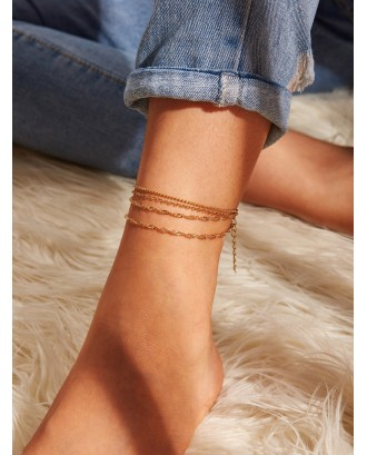 Bead Detail Multilayered Chain Anklet Set 1pc
