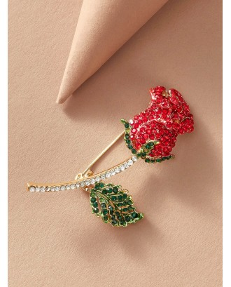 1pc Rhinestone Engraved Rose Shaped Brooch