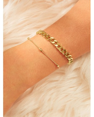 Bead Detail Chain Bracelet 2pcs