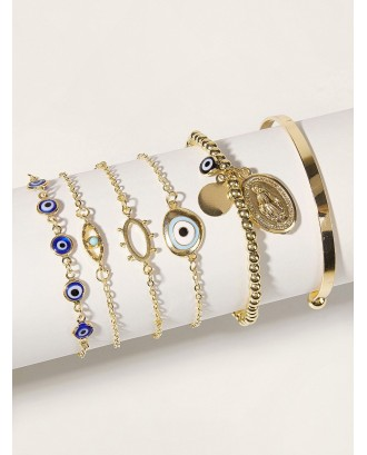 Eye & Coin Decor Chain Bracelet 6pcs
