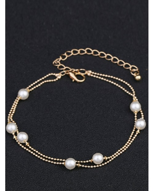 Faux Pearl Decorated Layered Bracelet 1pc
