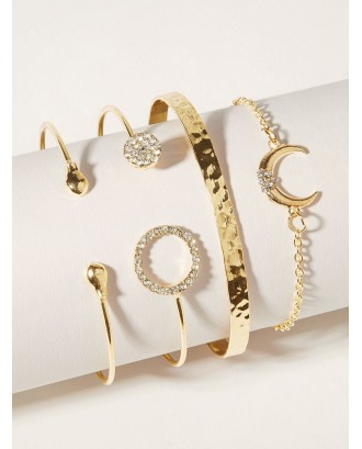 Moon & Round Decor Bracelet 4pcs